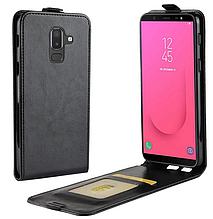 Кожаный чехол флип для Samsung Galaxy J8 2018 J810 черный