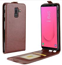 Кожаный чехол флип для Samsung Galaxy J8 2018 J810 коричневый