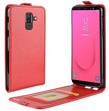 Кожаный чехол флип для Samsung Galaxy J8 2018 J810 красный