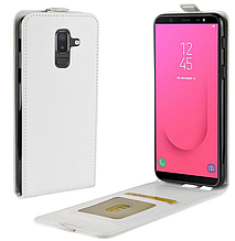 Кожаный чехол флип для Samsung Galaxy J8 2018 J810 белый