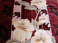 """Двухспальный (евро) плед Elway """"Цветы на бордовом (рисунок стрижка)"""""""
