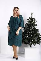 Зеленое платье свободного кроя большого размера 42-74. 0959-2