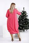 0960-1 | Свободное стройнящее коралловое платье большой размер, фото 4