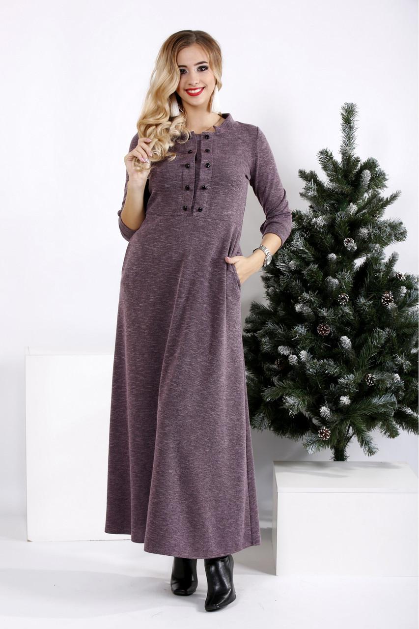 Свободное платье в пол из ангоры большого размера 42-74.  0964-1