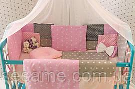 """Комплект постельного белья для новорождённых Добрый Сон """"Eco 3 Minky"""" серо-розовый, 1-03"""
