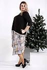 0967-3   Просторное платье с коричневой клеткой, фото 2