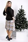 0967-3   Просторное платье с коричневой клеткой, фото 3