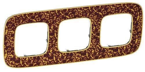 Рамка LEGRAND VALENA ALLURE 3-постовая в цвете Бароко Пурпур