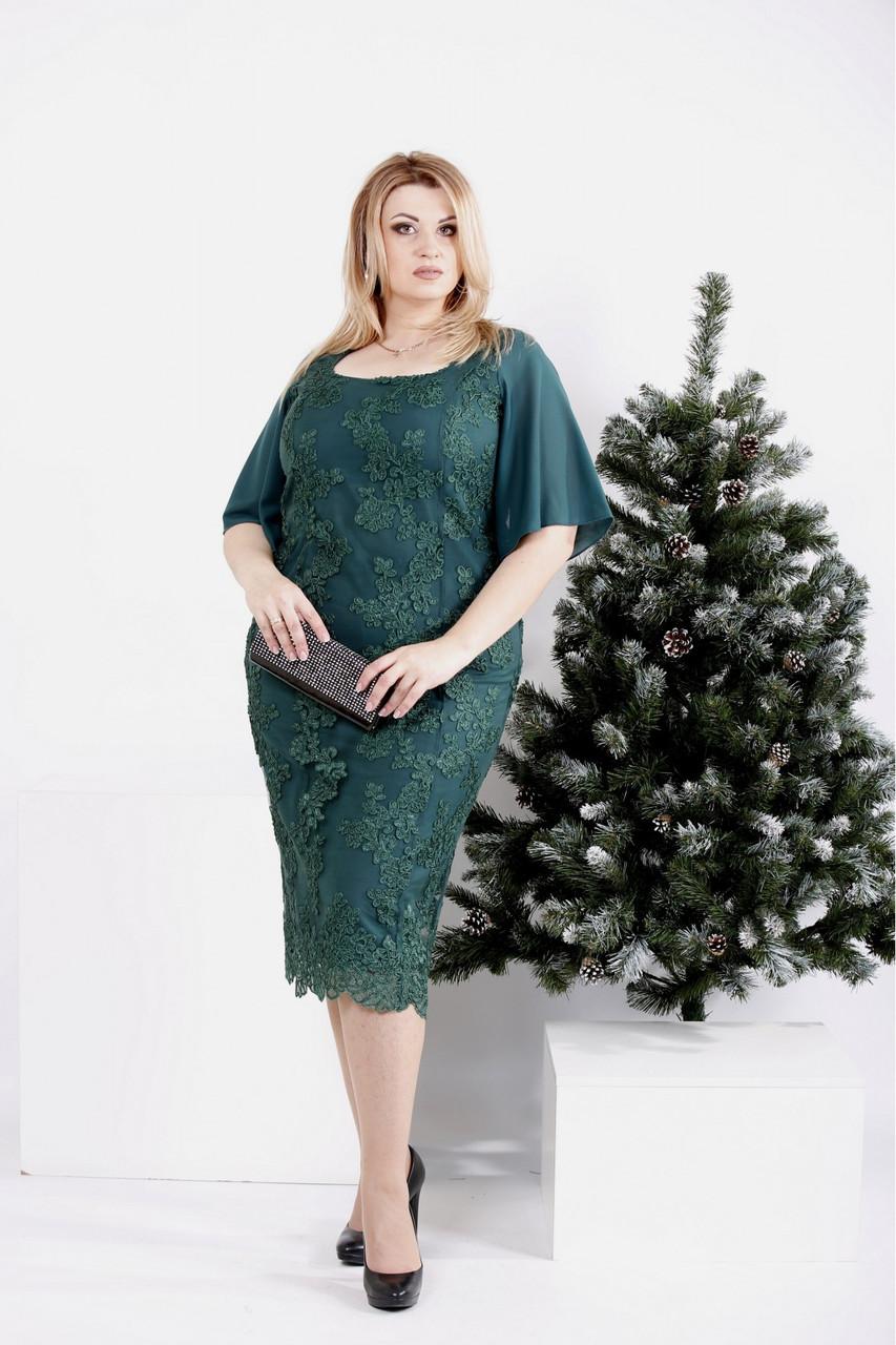 0973-2   Зелене плаття з вишивкою і знімною спідницею великого розміру