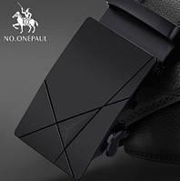 Ремень мужской классический NO.ONEPAUL кожаный с пряжкой автомат (черный)