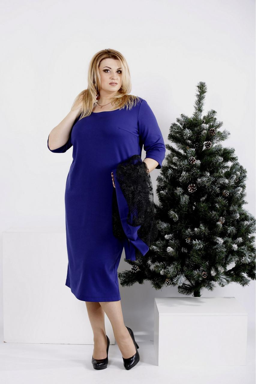 0977-1   Фиолетовый костюм: платье и кардиган большой размер