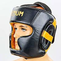 Шлем боксерский с полной защитой кожаный VENUM ELITE VL-8312-BK