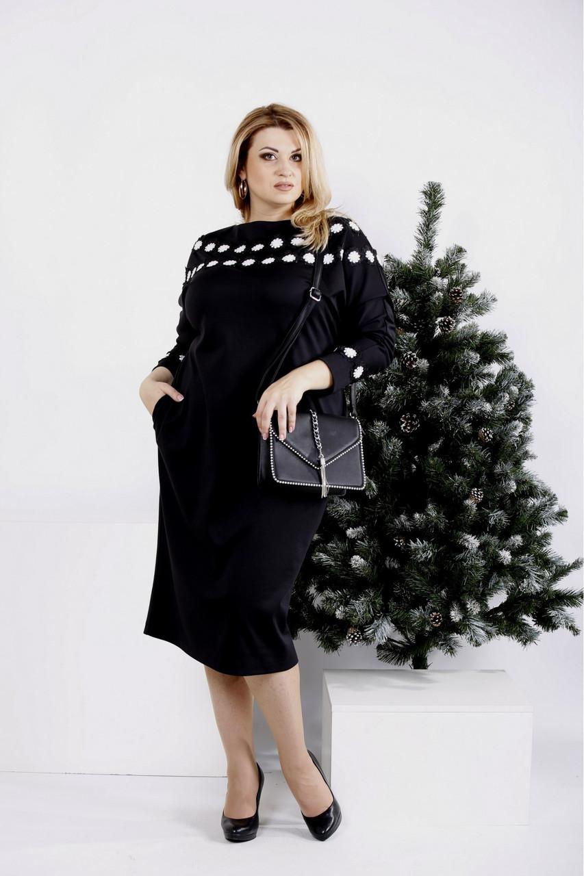 Черное платье с цветочками большого размера 42-74.0984-3