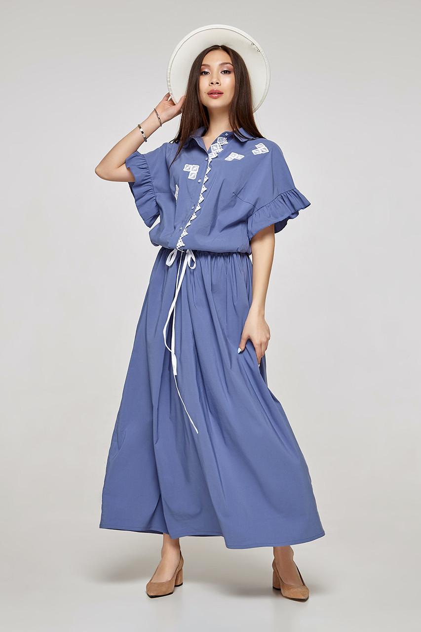 2318 платье Флор, голубой (S)