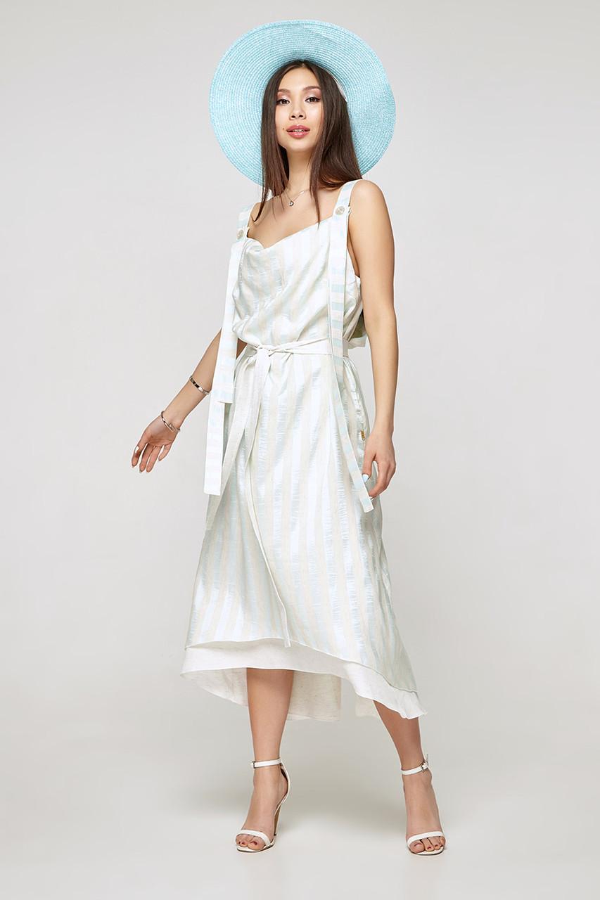 2320 платье Веер, полоска мята (S)