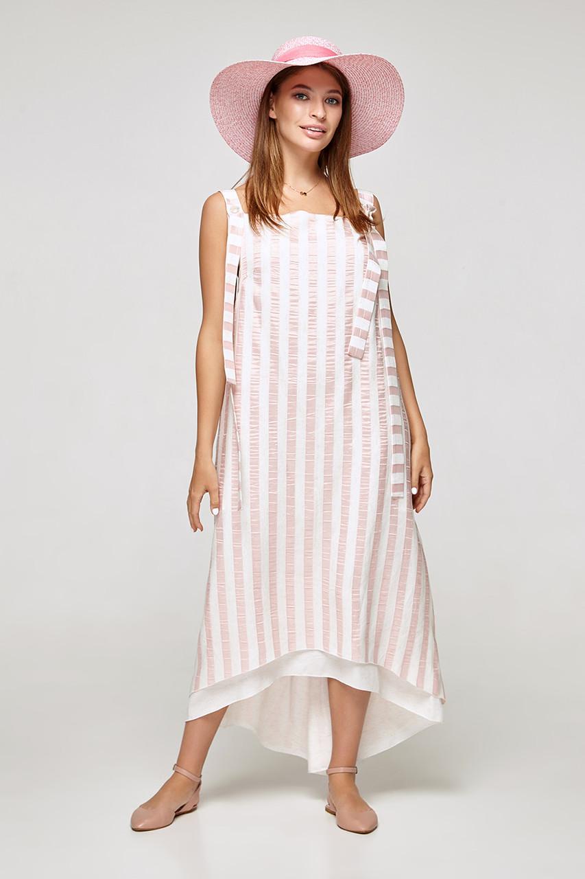 2320 платье Веер, полоска розовый (S)