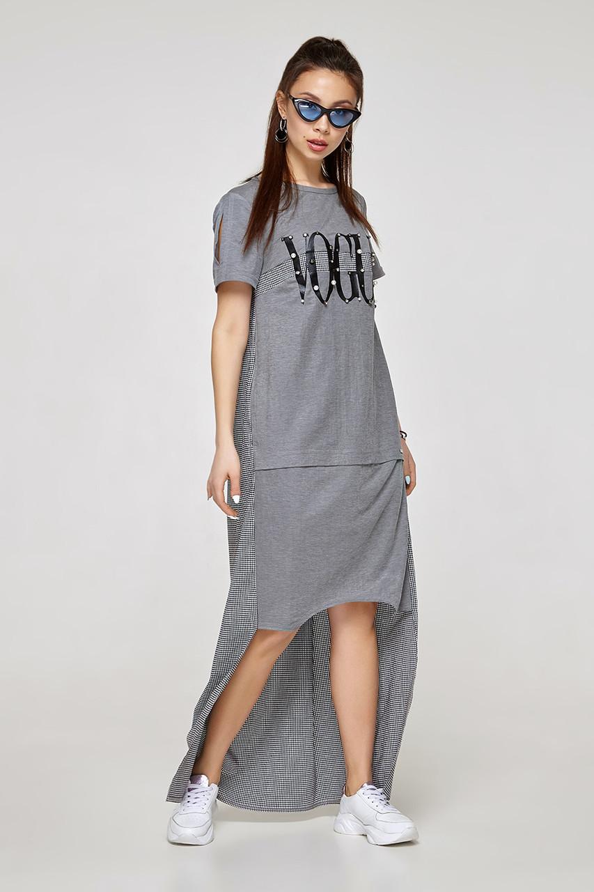 2331 платье Авангард, серый (S)