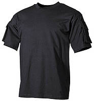 Тактическая футболка USA, черная, 100% cotton. MFH, Германия.