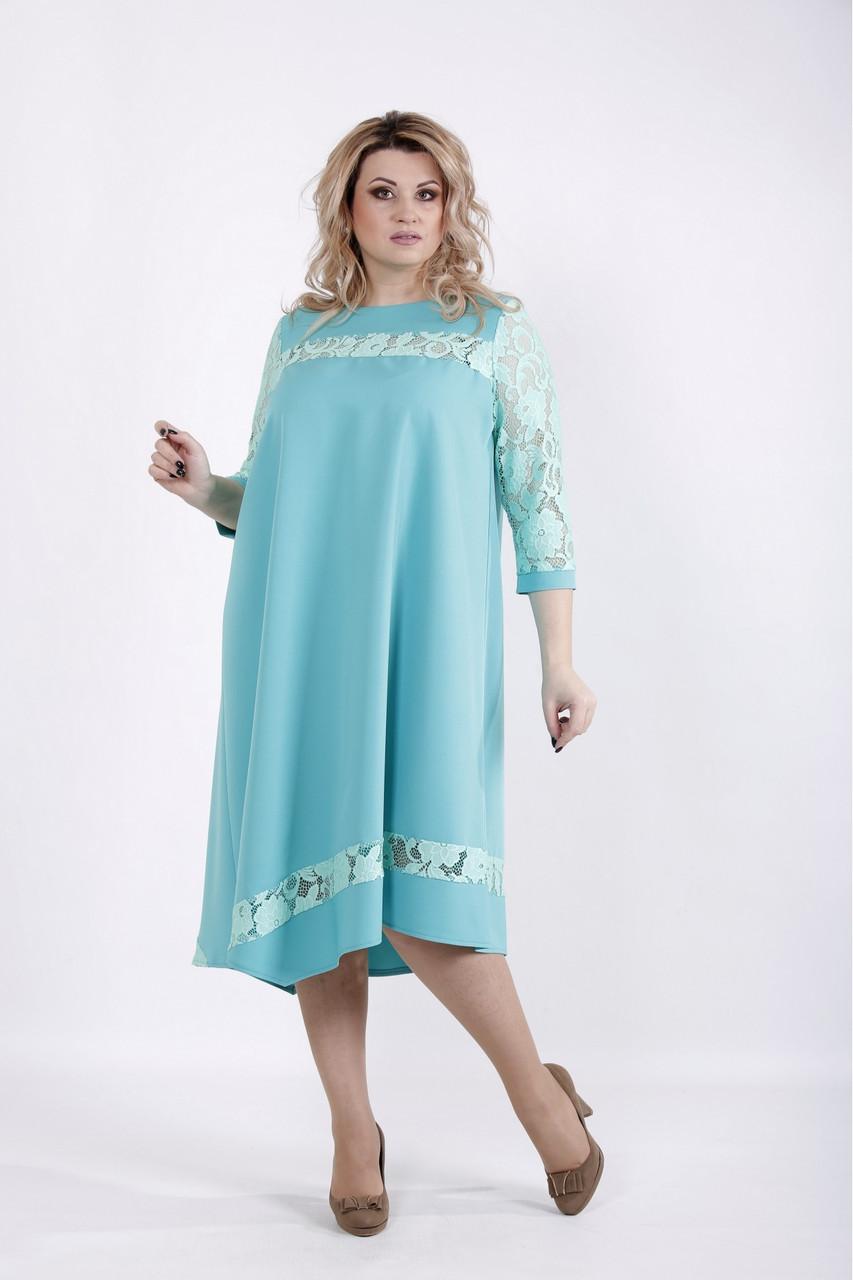 Нежное бирюзовое платье нарядное с гипюром большой размер 42-74. 01028-2