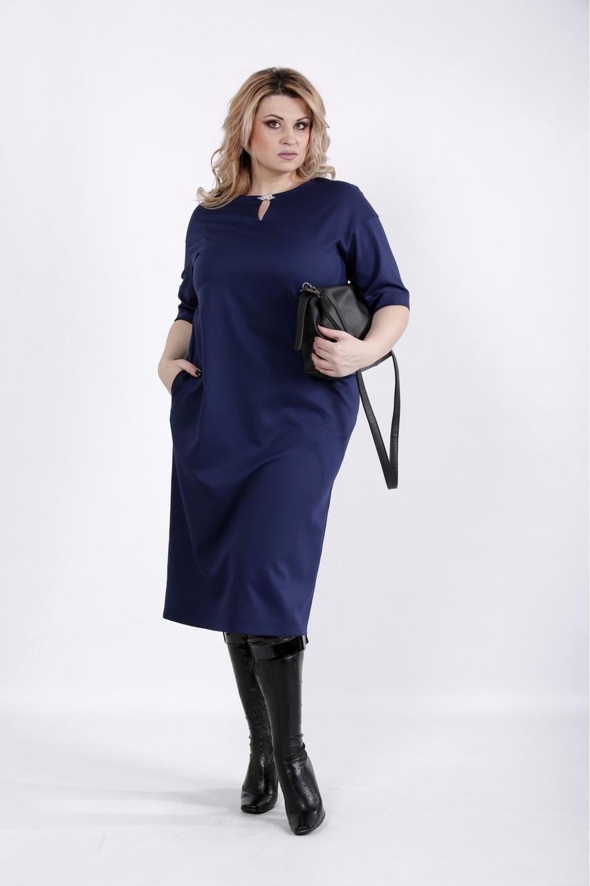 01029-1   Синє плаття з віскози великого розміру 42-74.