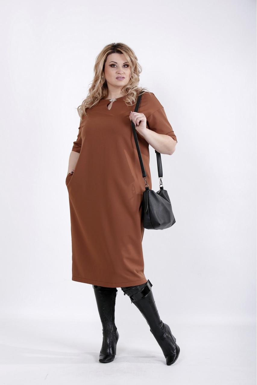 Просте офісне плаття кольору віскі великого розміру 42-74. 01029-2