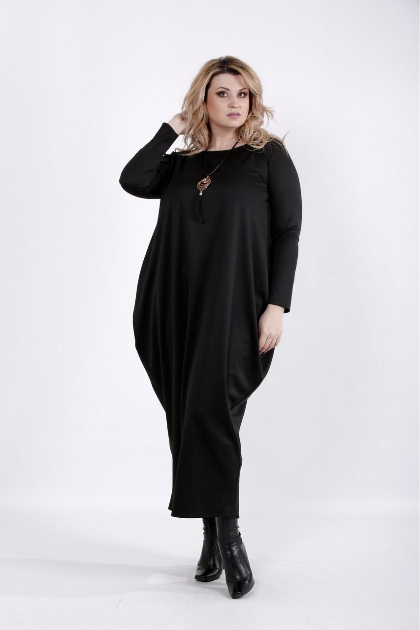 Черное длинное платье бохо трикотажное большого размера 42-74. 01030-3
