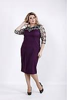 Красивое баклажанное платье вечернее с вышивкой на сетке батал 42-74. 01037-2
