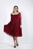 01039-1 | Торжественное бордовое платье большой размер