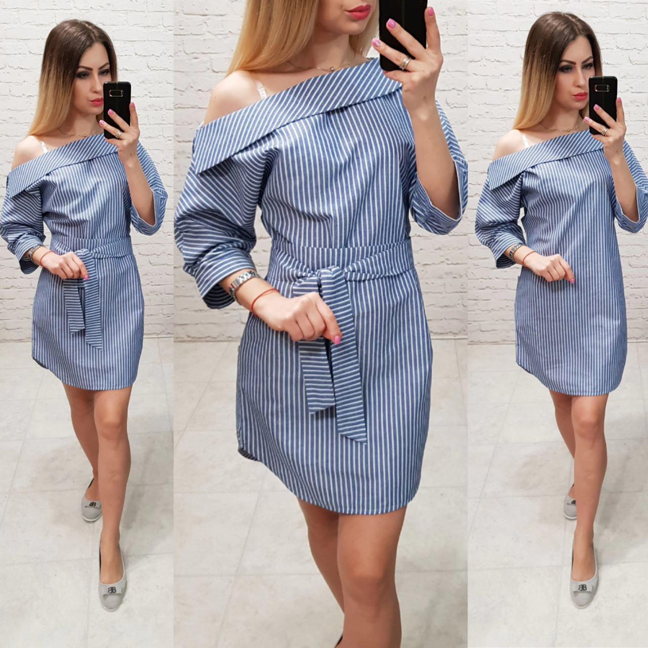 162a9c0e05a Платье- рубашка с воротником и спущенными плечами