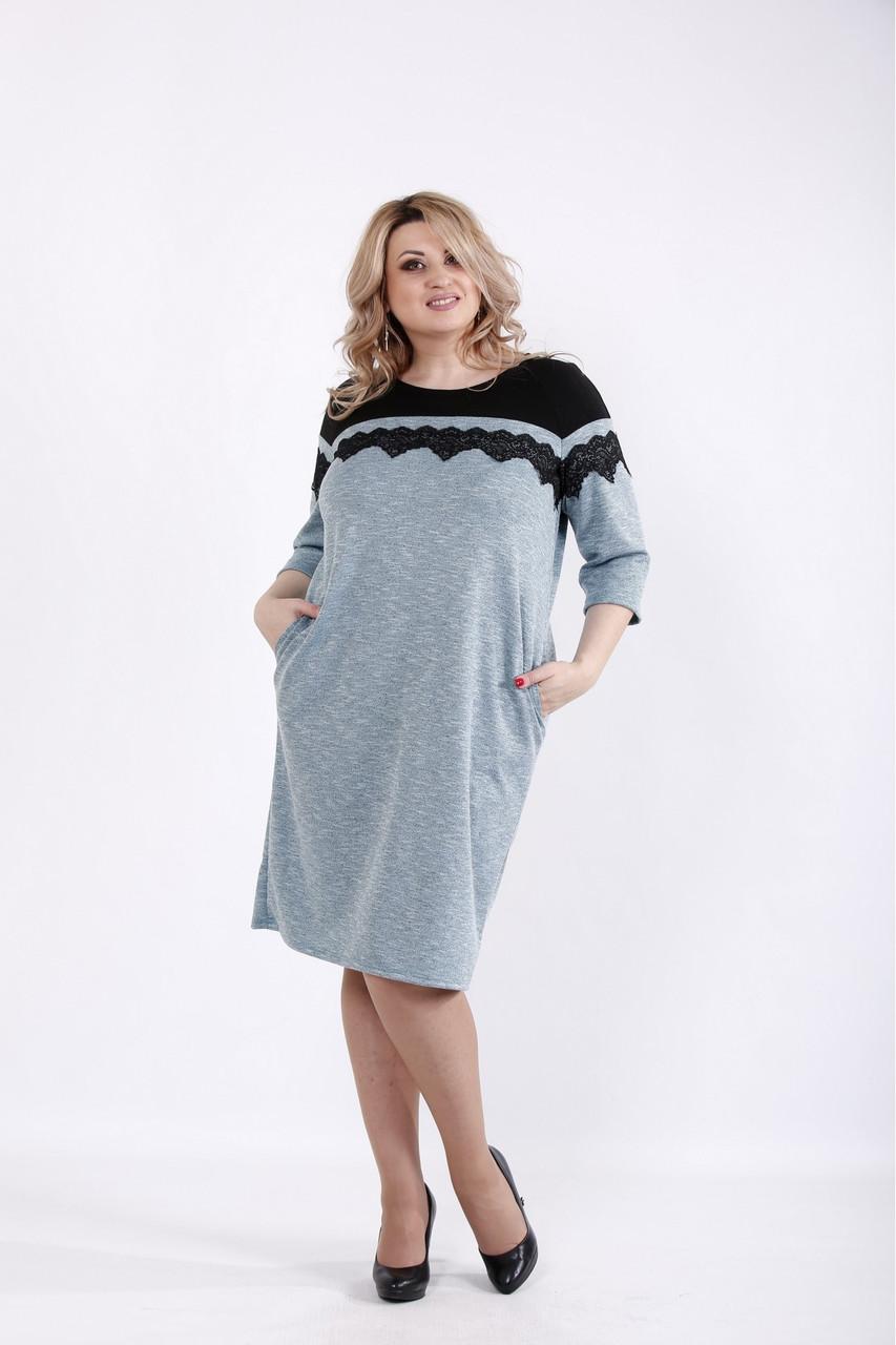 01047-3 | Бірюзове трикотажне плаття з ангори великий розмір
