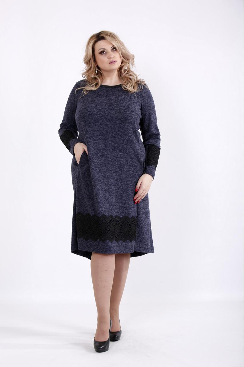 Миди платье трикотажное синего цвета большой размер 42-74. 01048-3