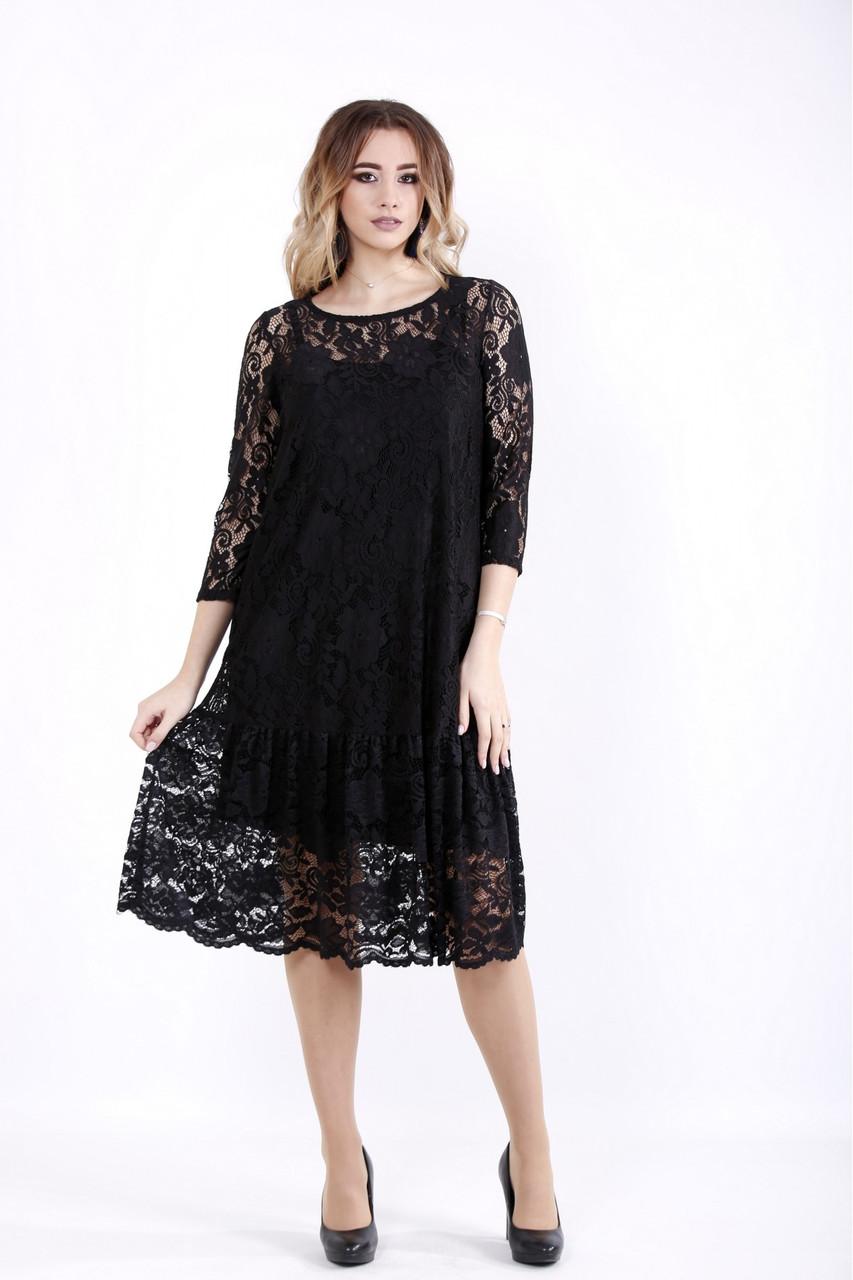Черное трикотажное платье кокиейльное с гипюром батал 42-74. 01050-1