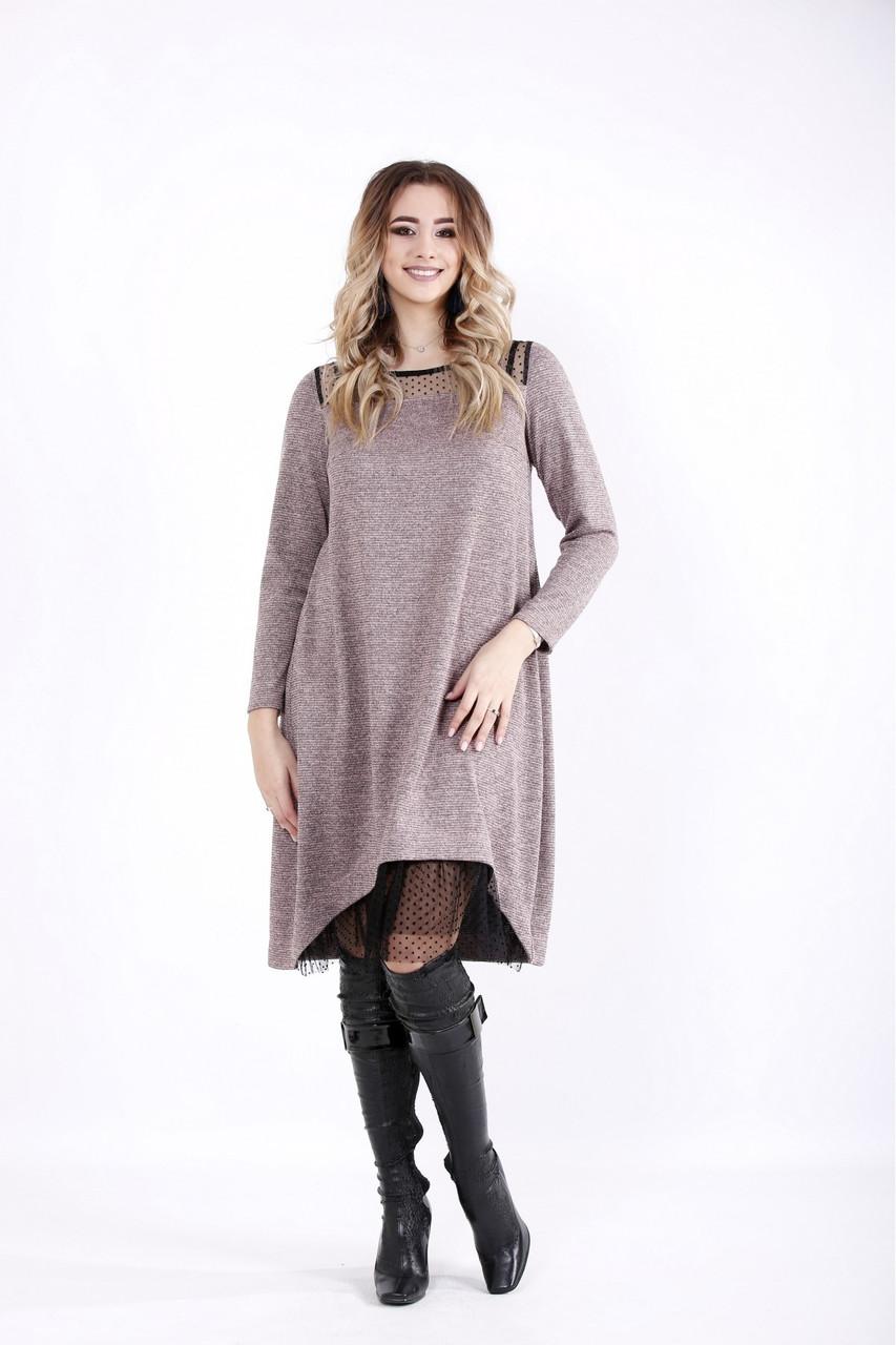 Розовое платье молодежное из ангоры люрекс большой размер 42-74. 01051-1
