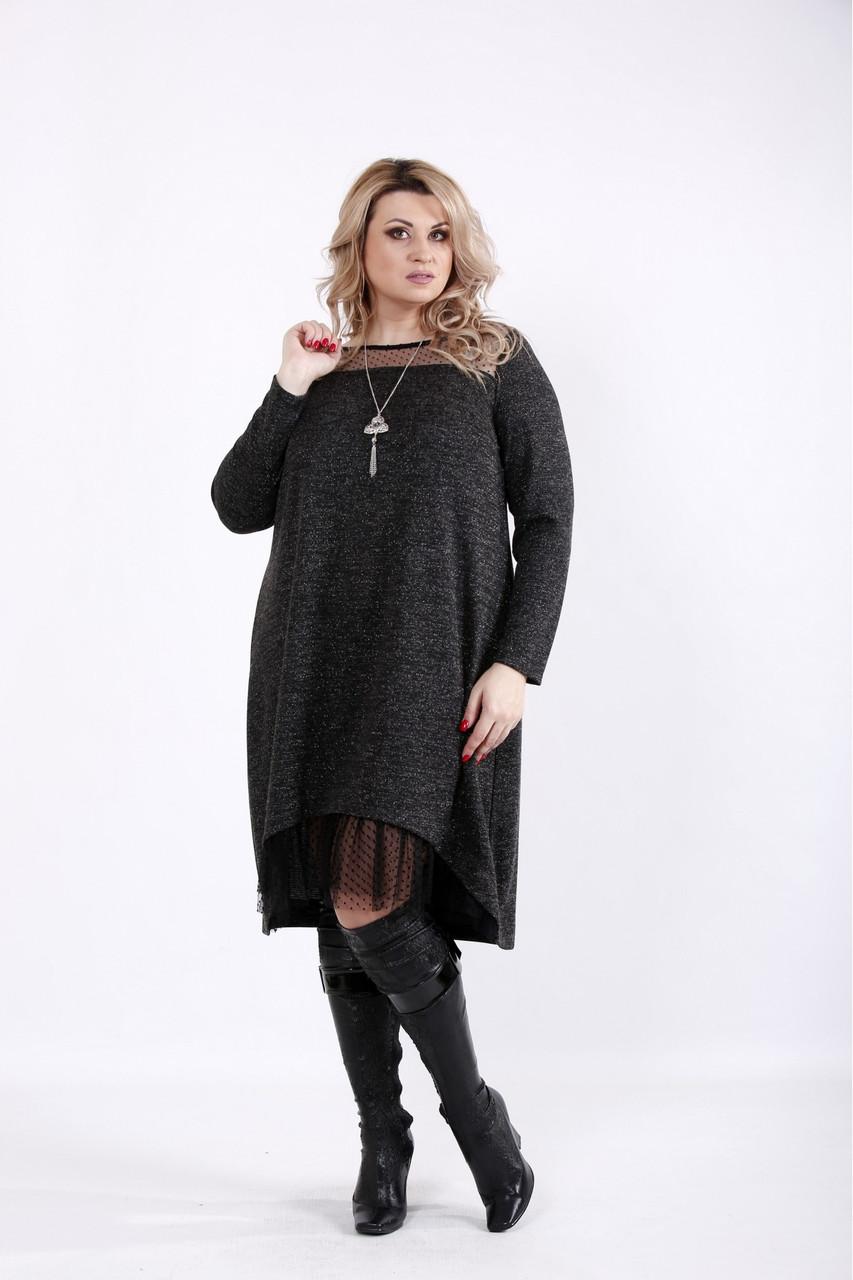 Черное платье молодежное с сеткой и ниткой люрекс большой размер 42-74. 01051-3