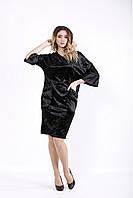 01052-2 | Черное велюровое платье вечернее большой размер 42-74 01052-2