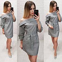 Платье- рубашка с воротником и спущенными плечами, арт161, вертикальная полоска, цвет черный
