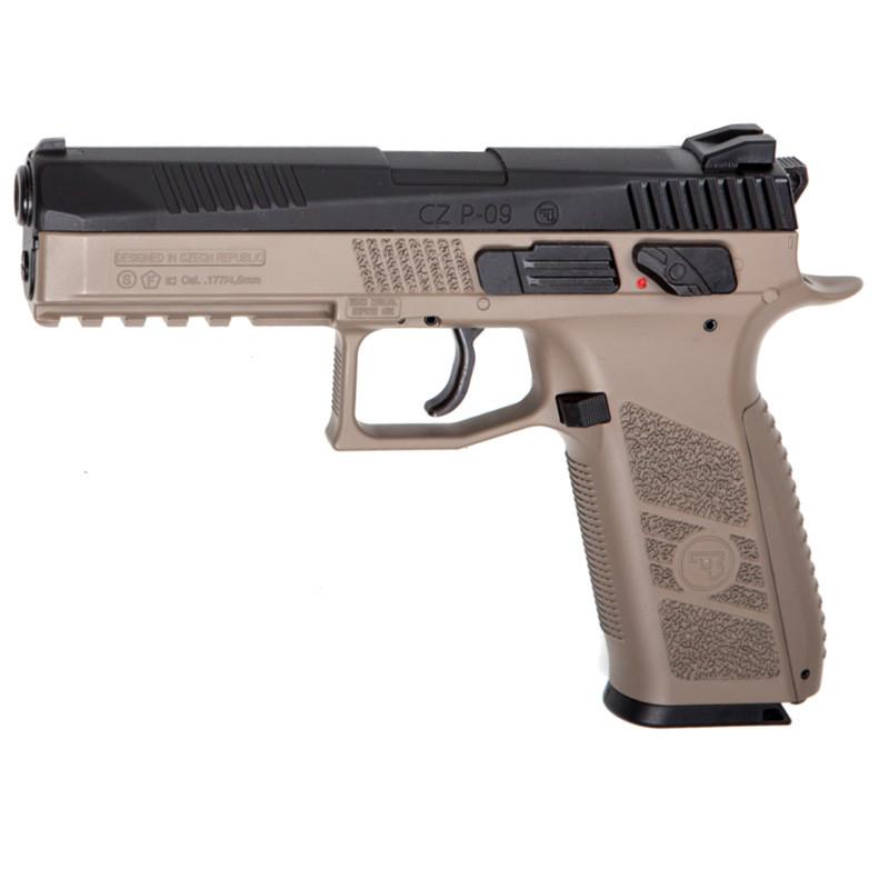 Пистолет пневматический ASG CZ P-09 Pellet DT-FDE Blowback (4,5mm), tan/черный