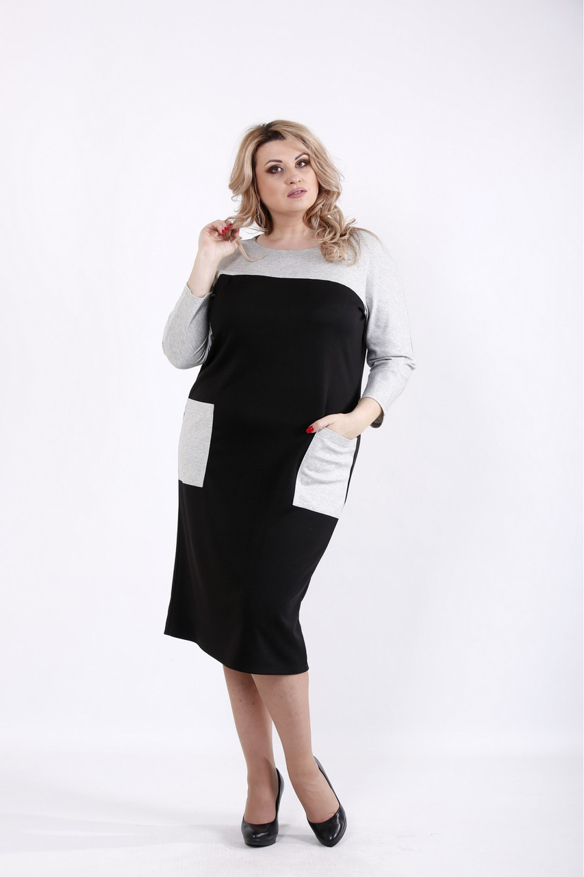 Чорне трикотажне плаття з кишенями батал 42-74. 01053-1
