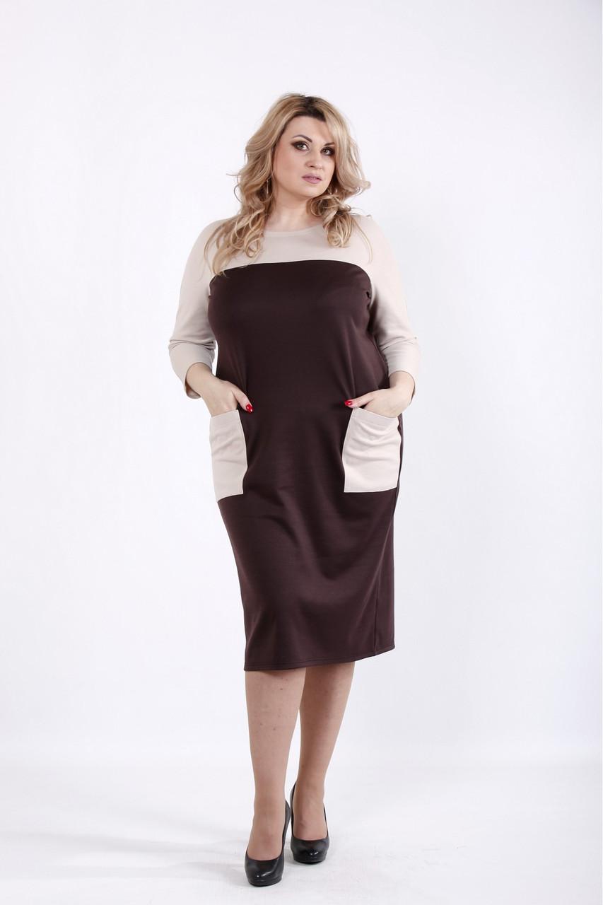 01053-2   Шоколадне плаття з кишенями великий розмір