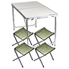 Стол туристический складной Ranger ST 401 (120х60х55/62/70см) + 4 складных стула, алюминиевая рама