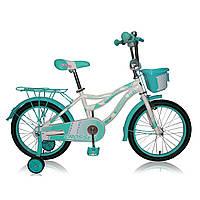 """Детский двухколесный велосипед Azimut Crosser Kiddy 16"""" голубой бирюза"""