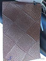 Кожзаменитель на войлочной основе мебельный для мягкой мебели ширина 140 см сублимация клетка коричневая, фото 1