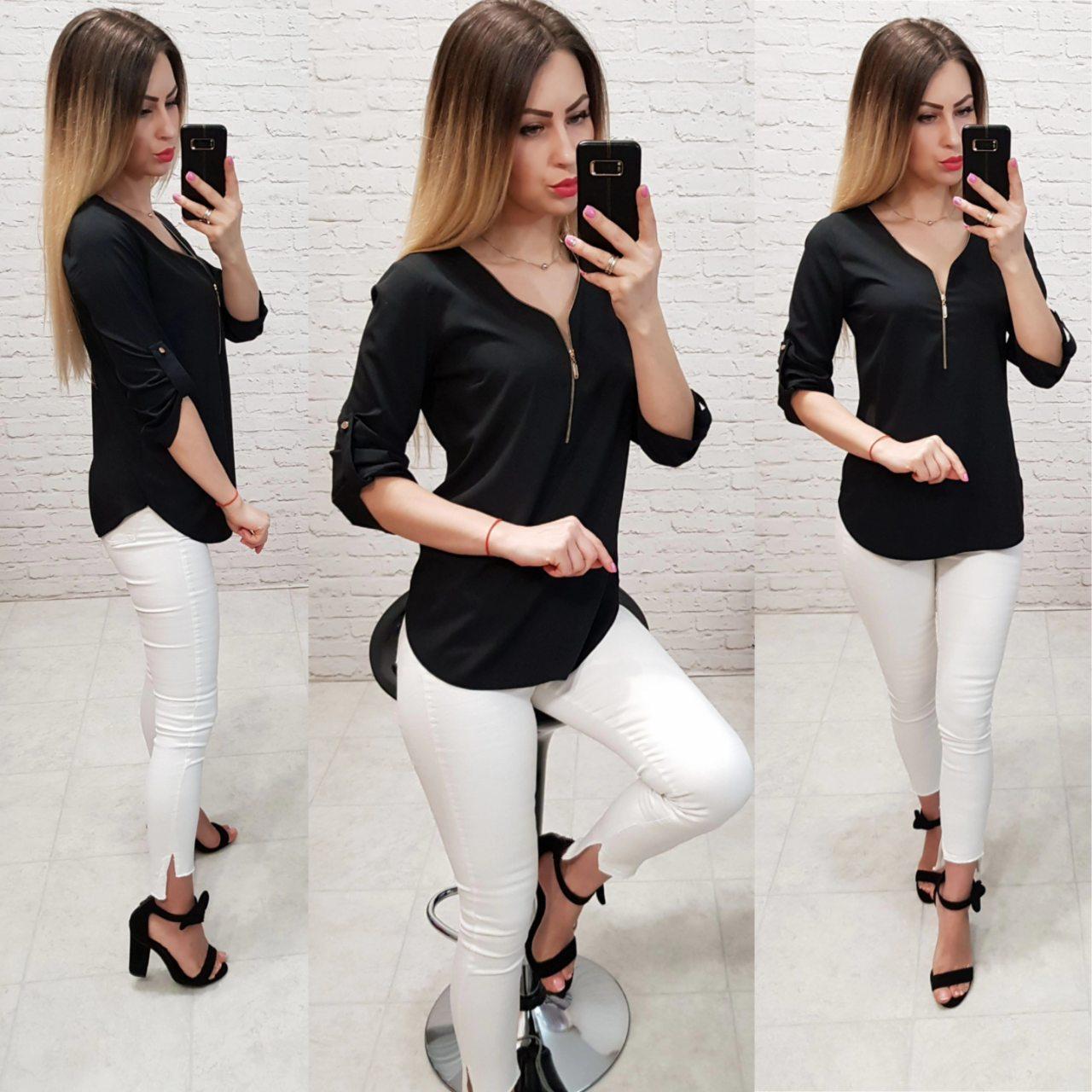 Блузка на молнии, модель158, черный