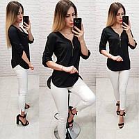 Блузка на молнии, модель158, черный, фото 1