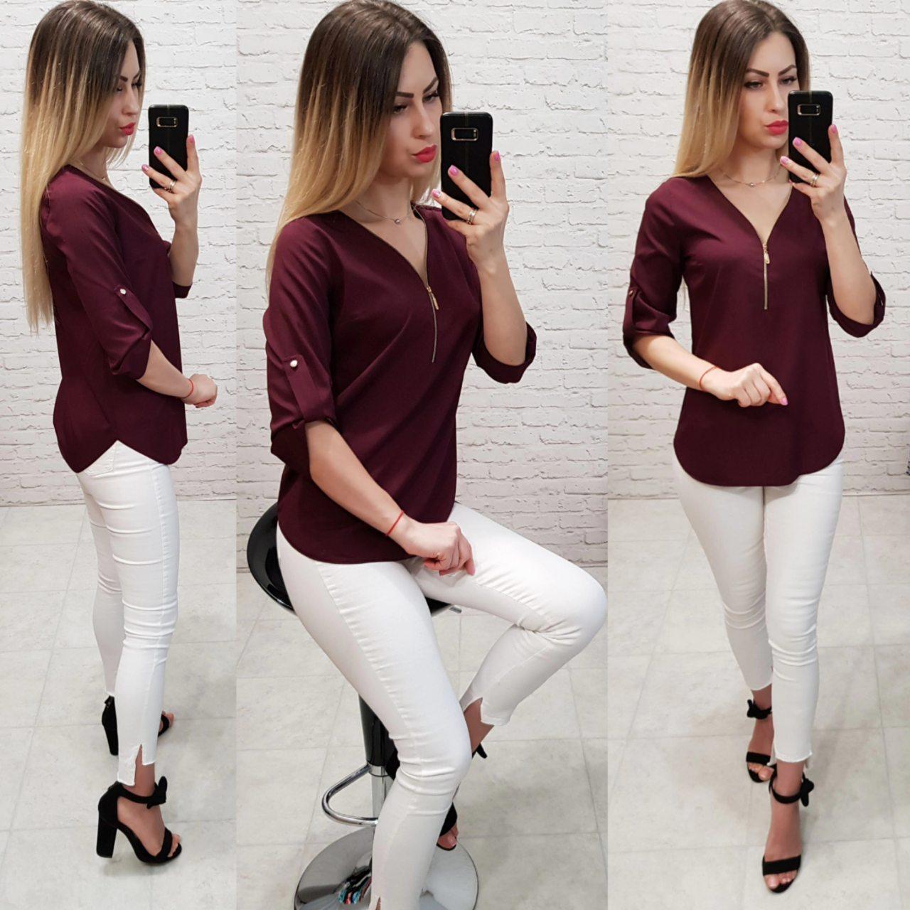 Блузка на молнии, модель158, бордовый
