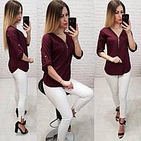 Блузка на молнии, модель158, бордовый, фото 1