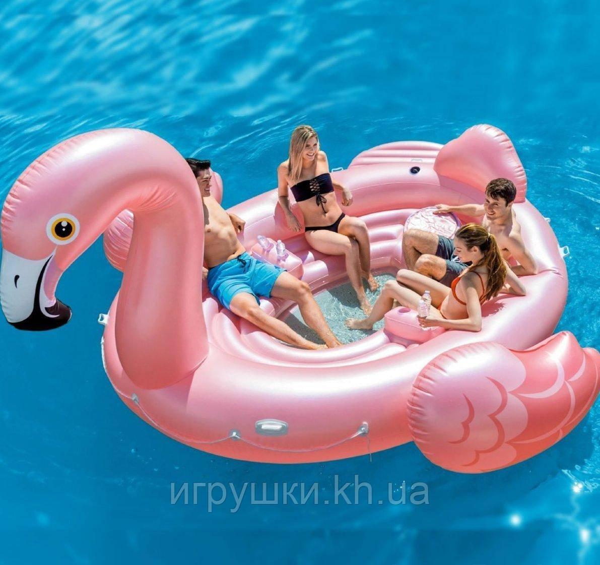 aa7e918f9610 Надувной плот для вечеринок Intex 57267 «Фламинго», 422 х 373 х 185 ...