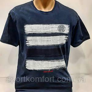 Модная футболка Турция, хлопок 95%. Турецька чоловіча футболка, темно-синя.