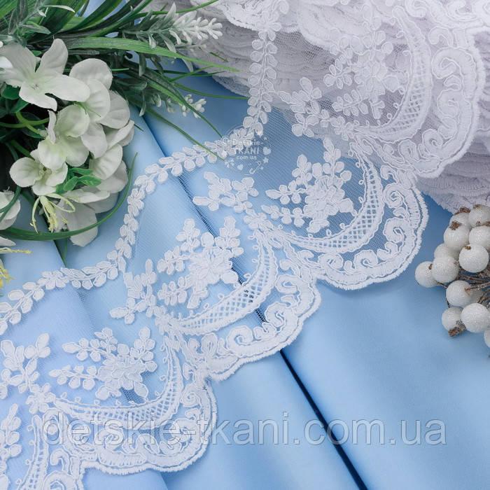 Кружево с кордовыми волнами из завитками, белого холодного цвета, 13 см