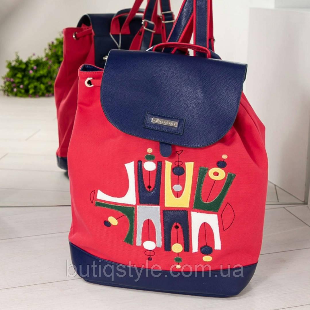 Молодежный рюкзак красный с принтом эко-кожа +текстиль